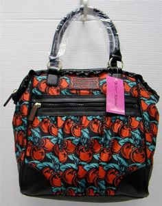 New Betsey Johnson Red Cherry Boom Black Faux Leather Ruffle Tote Bag Handbag | eBay