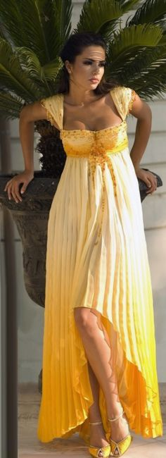 Asymmetric yellow cap style sleeves ruched evening dress