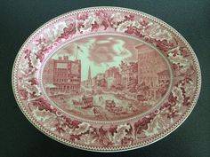 """12 1/4"""" oval serving platter with pink transferware print depicting the Barnum's Museum in Brooklyn, New York.  From NanasCherishedChina on Etsy"""