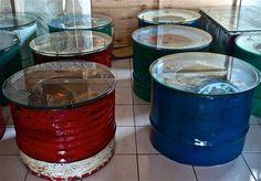 Easiest Way To Recycle 55 Gallon Metal Drums - Sensod - Create. Drum Chair, Drum Table, Glass Table, Oil Barrel, Metal Barrel, Garage Furniture, Barrel Furniture, Table Furniture, Table Baril