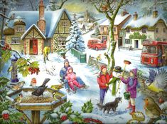 In The Snow - Artist, Ray Cresswell © Christmas Scenes, Christmas Art, All Things Christmas, Christmas Morning, Snow Artist, Best Jigsaw, Share Pictures, Animated Gifs, Winter Illustration