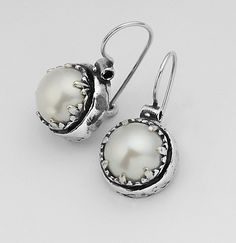 Designer Earrings Hoop 10mm Round Cabs Pearl Jewelry Vintage 100% Solid Fashion for Women