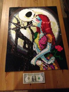 Made out of roughly Perler beads. Original artwork by JozzGc. [link] Jack and Sally Hama Beads Design, Diy Perler Beads, Perler Bead Art, Pearler Beads, Melty Bead Patterns, Pearler Bead Patterns, Perler Patterns, Pixel Art, Nightmare Before Christmas Dolls