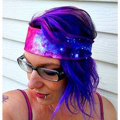 Galaxy Nebula headband Space hair bow geek planet stars Space ❤ liked on Polyvore featuring accessories, hair accessories, star headband, hair band accessories, hair bow headband, star hair accessories and head wrap headband