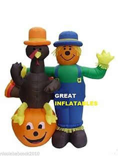 Turkey sitting on a pumpkin with his Scarecrow friend. Add some fun and humor to your fall Holiday Decorating. This Fall and Thanksgiving inflatable stands 6 feet tall. Great for your yard, pumpkin patches, or fall festivals or Thanksgiving festivities Thanksgiving Inflatables, Holiday Inflatables, Yard Inflatables, Halloween Inflatables, Thanksgiving Wishes, Thanksgiving Decorations, Colorful Centerpieces, Greetings Images, Food Drive