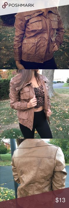 Caramel leatherette moto jacket Excellent condition. Worn once. Polyester jacket with Four front pockets, zipper and buttons. Very cute and elegant Jackets & Coats