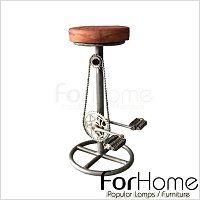 [ ForHome ] MH-2361 LOFT 工業風 復古 仿舊 鐵件 駱駝皮 腳踏車吧檯椅 咖啡廳 餐廳  固定踏版