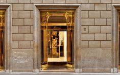 Brass Entry Insert at Historic Facade mimics the curved glass Entrance from the Via Condotti White Marble Floor, Entrance, Marble Floor, Glass, Gold Glass, Glass Coffee Table, Townhouse, Curved Glass, Deco