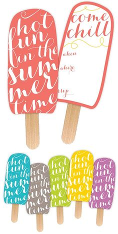 Popsicle printable invites