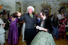 President Bill Clinton and First Lady Hillary Clinton dressed up as James and Dolly Madison on Hillary's birthday at the White House on October 26, 1993 (her 46th).