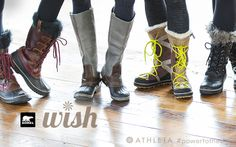 Wish for New Sorels | Athleta Holiday 2013need fluorescent laces for my sorrels