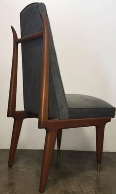 Set of Six Eugenio Escudero Sculptural Mahogany Dining Chairs, Mexico, 1950s 2