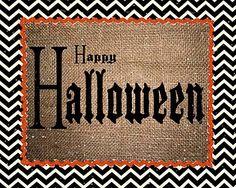 Happy Halloween 8x10 printable - Love the black & white chevron pattern