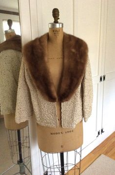 Vintage 1950's cream colored ribbon knit jacket with mink collar