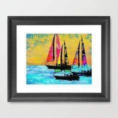 Three+Sailboats+Framed+Art+Print+by+Christine+Parrish+Coastal+Designs+-+$33.00