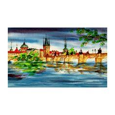 Prague Charles bridge from river embankment, Watercolor painting Original, cityscape