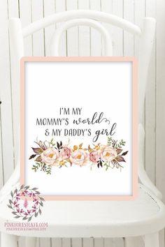 Mommy's World Daddy's Girl Boho Nursery Print Wall Art Watercolor Baby Room Printable Decor