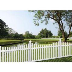 Veranda 4 ft. x 8 ft. Kettle Scallop White Vinyl Fence Panel-73011945 - The Home Depot