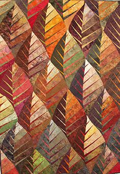 Nouveau Leaf Art Quilt by Betty Busby Patchwork Quilt, Batik Quilts, Fall Quilts, Geometric Patterns, Textures Patterns, Quilt Patterns, Patch Quilt, Quilt Blocks, Quilting Projects