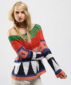 Take a look at the Free People Red & Green Modern Art Pullover Sweater on #zulily today!