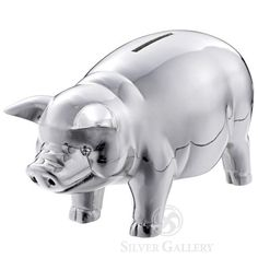 Reed and Barton's classic silver plated piggy bank for baby at just $50.00
