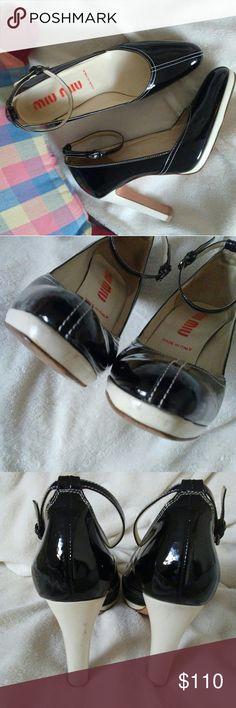 "Miu miu platform ankle straps Slightly wear through out Size 36.5 Heel hight 4"" Black and beige color Miu Miu Shoes"