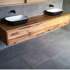 Timber vanity with large grey tiles, black tap ware but white basins Luxury Bathroom Vanities, Master Bathroom Tub, Small Bathroom Wallpaper, Small Space Bathroom, Bathroom Sink Vanity, Master Bedroom, Bedroom Decor, Painting Bathroom Cabinets, Bathroom Cupboards