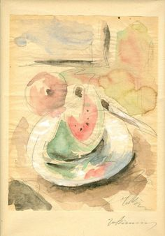 Giorgos Bouzianis Still Life with Watermelon, Greek Art, Art Database, Watercolour Painting, Watercolors, Artist Gallery, Conceptual Art, Printmaking, Medieval, Illustration Art