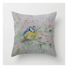 BIRD, BLUE TIT Throw Pillow ❤ liked on Polyvore featuring home, home decor, throw pillows, bird throw pillows, blue toss pillows, bird home decor, blue home decor and blue home accessories