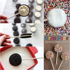 Fun easy oreo pops with white chocolate and sprinkles Chocolate Dipped Oreos, White Chocolate, Meal Prep Menu, Small Birthday Parties, Sprinkles, Oreo Pops, Cookies For Kids, Perfect Cookie, Cake Creations