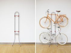 15 Creative Ways to Hang Up Your Bike via Brit + Co. -- Two Bike Gravity Stand -- Looks perfect to me!