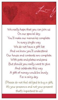 wedding monetary request in red | This listing is for 80, but I can accommodate any number- Just contact ...