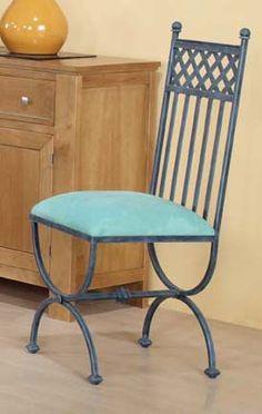 Silla mod. Moscú, fabricado en forja de forma artesanal, se puede cambiar el color de la forja y tapizado