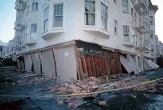 Buildings in the Marina District of San Francisco after the 1989 Loma Prieta earthquake. #SF, #earthquake, #photography