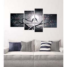 Hand-painted 'Heart to Heart Talk' 4-piece Oil Gallery Wrapped Canvas Art Set | Overstock.com Shopping - Big Discounts on Canvas
