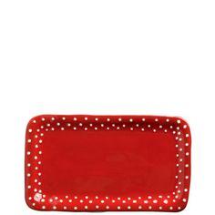 Rosso Vecchio Dot Small Rect Platter   12.25