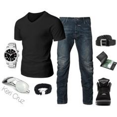 So easy, a guess watch, a para cord bjj belt bracelet, wallet, leather belt in black and brown, sunglasses, and a good pair of shoes (combat boots).