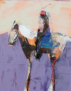 """Horse and Rider in purple by Dominique Samyn Acrylic ~ 14"""" x 11"""""""