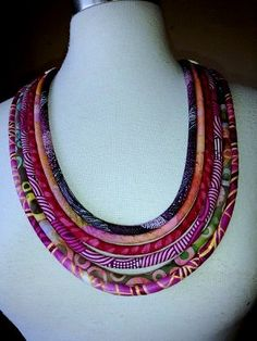 African, Ethnic and Batik Multi Cord  Necklace   <3