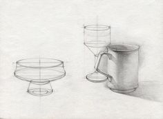Kitchen cup drawing - jar pencil , drawing for kitchen, cylinder study drawing, graphite pencil on paper