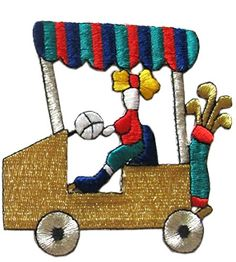 """[Single Count] Custom and Unique (3 3/4"""" by 3 1/2"""" Inches) Sports Golfing Club Access Left Facing Girl In Golf Car Iron On Embroidered Applique Patch {Gold, Green, Red, and BLue Colors} mySimple Products http://www.amazon.com/dp/B013QEDW7E/ref=cm_sw_r_pi_dp_-keIwb03W03SF"""