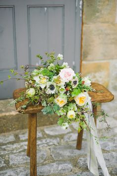 Oversized Bridal Bouquet | Images by Emma Pilkington Photography - Rustic Ethereal French Chateau Inspiration | Flowers by Swallows and Damsons | Dresses by Kate Beaumont | Emmy London Shoes | Hassop Hall | Emma Pilkington Photography | http://www.rockmywedding.co.uk/rustic-ethereal-french-chateau-inspiration-shoot/