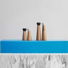 Normann Copenhagen marble top salt and pepper mills. #design #kitchen #cook