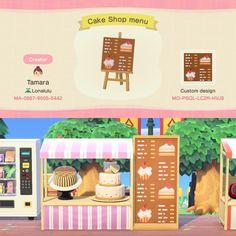 Animal Crossing Cafe, Animal Crossing Qr Codes, Animal Crossing Villagers, Menu Design, Sign Design, Cake Shop Design, Motif Acnl, Ac New Leaf, Motifs Animal