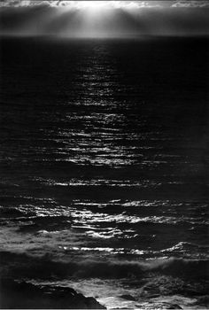 Ansel Adams, Sundown, The Pacific, ca. 1953 #blackandwhite #adelineinspiration