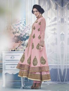 Pink Net Anarkali Suit with Embroidery and Handwork