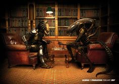 Alien vs Predator : Chess -- I would totally hang this print in my house..such a geek :)