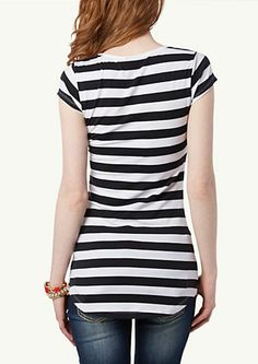 image of Striped High Low Tee