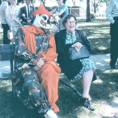 Aunt Helen sure looks like she\'s having a good time with that friendly clown... #happyhalloween #clowns #vintagephotos #slidescan #somewhereiniowa #vintageclown #vintagesnapshot #foundphoto