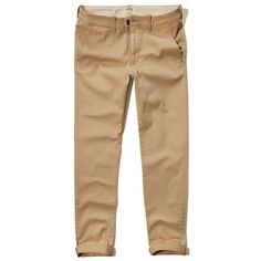 Hollister Skinny Zipper Fly Chino ($22) ❤ liked on Polyvore featuring men's fashion, men's clothing, men's pants, men's casual pants, guys, men, khaki, mens khaki pants, mens zipper pants and mens stretch pants